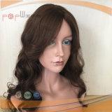 Peruca cheia ondulada reta amarrada do laço do trabalho do cabelo humano mão superior amável longa