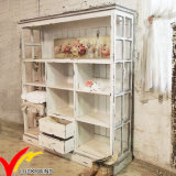 Shabby Chic Farmhouse Vintage Handmade White Wooden Bookcase e Bookshlf