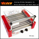 Machine durable de saucisse de mode, gril électrique de hot-dog de 11 rouleaux avec la couverture en verre de courbe, CE approuvé (WY-011C)