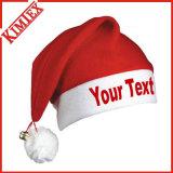 Sombrero de Santa de la Navidad del regalo de la decoración de la promoción del bordado del paño grueso y suave