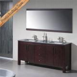 Fed-1158 geben stehendes Espresso-weiße Quarz-Vierecks-Wannen-festes Holz-Badezimmer-Eitelkeiten frei