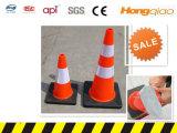 Cônes noirs de sécurité routière de circulation de PVC de base