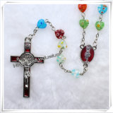 Rosaire coloré de talons de coeur en verre, rosaire religieux (IO-cr106)