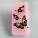 Het Douane Afgedrukte Geval van uitstekende kwaliteit van de Telefoon van het Silicone van de Vlinder Roze