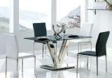 Tabella pranzante bassa vetro/metallo libera moderna con le presidenze laterali