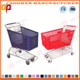 Chariot à deux niveaux à achats de supermarché de qualité en plastique (ZHt276)