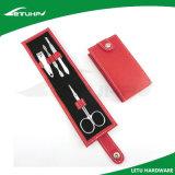 손톱깎이를 가진 녹색 지갑 상자 4PCS 매니큐어 장비