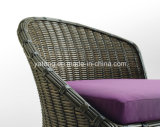 O sofá ajustado do Rattan do sofá do dobro do jardim da alta qualidade ajustou-se com tamborete