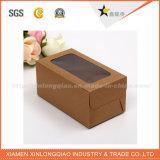 Rectángulo de papel respetuoso del medio ambiente de Brown Kraft de la talla de encargo con la ventana del PVC