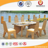 手作りされる屋外の8 Seater食事する椅子および表の藤によって編まれる食事用食器セット(UL-523)を
