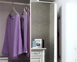 3-Door moderno que desliza o quarto por atacado de couro construído no Wardrobe de madeira