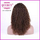 Парик шнурка Remy плотности качества 130% изогнутого верха цвета Brown бразильский людской передний с волосами младенца