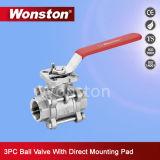 CF8m trois parties de robinet à tournant sphérique avec le support de fixation direct d'OIN Pn64