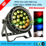 Indicatore luminoso sottile di PARITÀ del LED, IP65 DMX512 18PCS*10W RGBW 4in1 LED potente per usando esterno