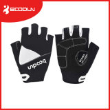 Les gants confortables en gros de bicyclette de cuir blanc de gel court- les gants de recyclage de doigt