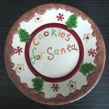 Plat en céramique peint à la main de Santa de vaisselle de Noël (GW1292)