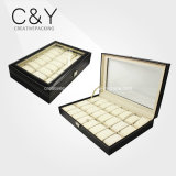 Caixa de armazenamento luxuosa do relógio do couro do plutônio dos entalhes de Eyecataching 24 com indicador de vidro