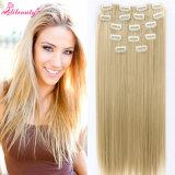 Clip non trattata dei capelli umani del commercio all'ingrosso 100% nelle estensioni dei capelli