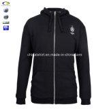Großhandel Plain Black Custom Embroidery Logo Hoodie mit Zipper