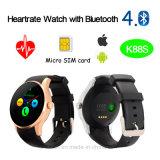 Téléphone mobile de montre de contrôle de fréquence cardiaque avec la fente de carte SIM (K88S)