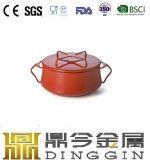 5つのQtの赤いエナメルの鋳鉄のダッチオーブン