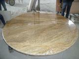 Tapas importadas de la mesa redonda del granito del oro