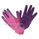 Gant de jardinage de travail enduit par gants en nylon de caoutchouc spongieux