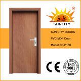 Дверь составной панели PVC города Sun деревянная (SC-P141)