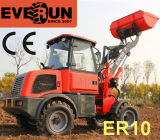 Diseño a estrenar de Everun mini cargador de la rueda de las partes frontales de 1 tonelada con las forkes ajustables de la paleta
