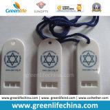 Boucle estampée par logo blanc de alerte plate verte personnalisée du sifflement W/Key