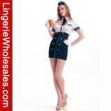 Blauer und weißer Reißverschluss-Vorderseite-Ausschnitt herausgeschnittenes Servicestewardess-Minikleid-Kostüm