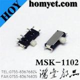 高品質の小型タイプSMDのスライドスイッチ3pin 2位置のトグルスイッチ(MSK-1102)