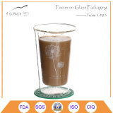 Hecha a mano doble taza de café de cristal de la pared