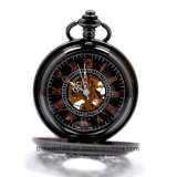 Black Mechanical Skeleton Pocket Watch avec chaîne Fob Hommes Femme