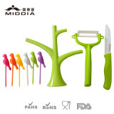 Плодоовощ Forks/Pickers с Tree Holder и Ceramic Knife/Peeler Set