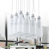 Modern Design Child Cute Creative Jar Branco Hand Blown Milk Bottle LED Glass Pendant Light para Bar and Club