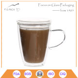 ふたが付いている習慣によって印刷されるガラスコーヒーカップ