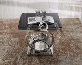 Mesa de centro elegante do vidro do preto do aço inoxidável do projeto