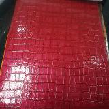 Cuir artificiel de PVC de texture brillante de crocodile pour des sacs à dos de pochettes de sacs à main