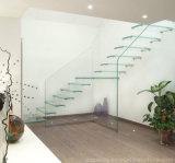 Escadaria do quarto de volta/etapas de vidro do trilho/as de vidro/longarina lateral/escadaria de flutuação