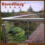 ステンレス鋼の手すり(SJ-H1027)を柵で囲むサテンの終わり台地ケーブル