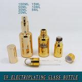 Goldgalvanisierende leere kosmetische Glasuvflasche für Verkauf