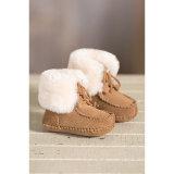 二重表面オーストラリアのMerino羊皮の幼児の赤ん坊靴