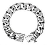 Mann-Armband-Titanstahlarmband-Silber-Farben-Punkfelsen-Art