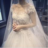 2017 vestido de casamento elegante da princesa Barco Encurvamento Cintura (Dream-100063)