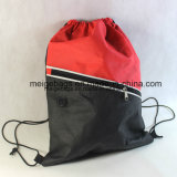 ポリプロピレンの昇進のドローストリングはジッパーのポケットが付いているバックパック袋を、遊ばす