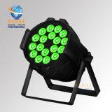 Luz de la IGUALDAD del alto brillo DMX512 18*15W 5in1 Rgbaw Alumnium LED de RoHS Certiificate con Powercon para la hospitalidad de la etapa