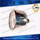 銀製の鋼鉄ケースが付いているミニチュア概要の圧力計