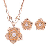 Bijou réglé de mode de PCS du collier 2 de boucle d'oreille pendante d'or de Rose de perle de fleur