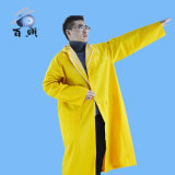 黄色いフード付きPVC/Polyester/PVCの長いレインコート